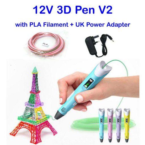 12V 3D Pen V2 with PLA Filament & Adapter - UK Plug