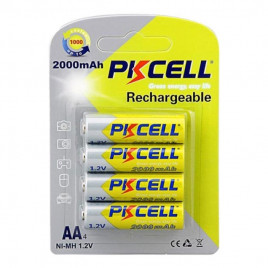 PKCELL NiMH Rechargeable AA 2000mAh Battery (4 Pcs)