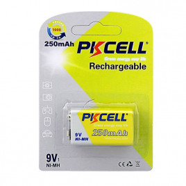 PKCELL NiMH Rechargeable 9V 250mAh Battery