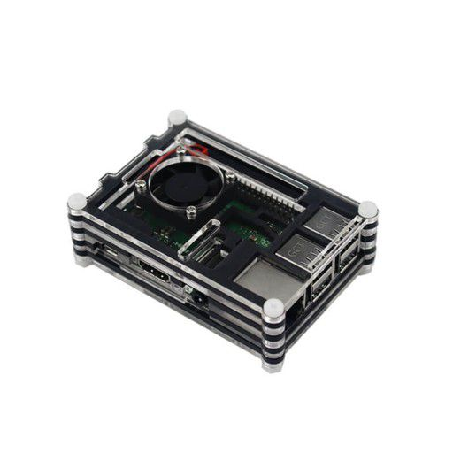 9 Layer Case for RPi 3 with Fan (Black)