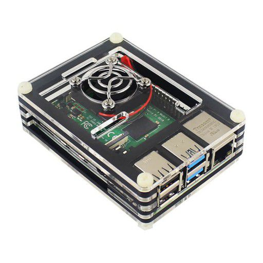 9 Layer Case for RPi 4 with Fan (Black)