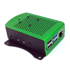 Aluminum RPi4 Case with FAN and Bracket - Green