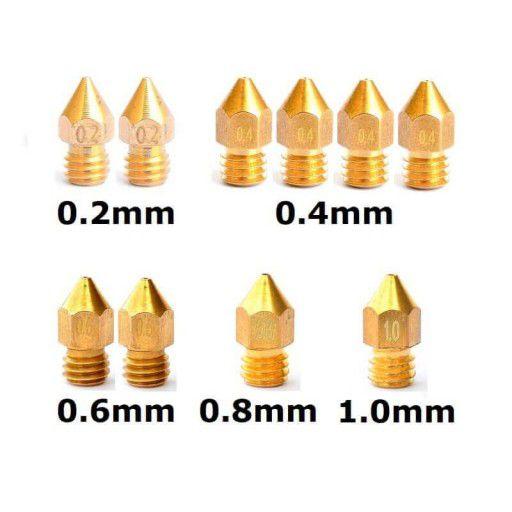 MK8 Nozzle for 3D Printer - 10pcs Different Size