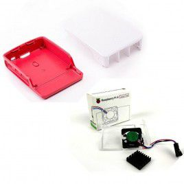Official Case and Cooling Fan for RPi4 - Red & White