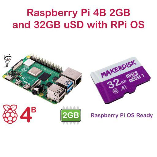 Raspberry Pi 4 Model B 2GB and 32GB microSD with RPi OS