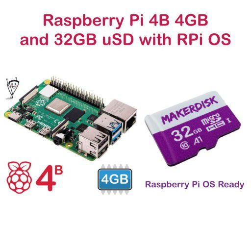 Raspberry Pi 4 Model B 4GB and 32GB microSD with RPi OS