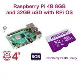 Raspberry Pi 4 Model B 8GB and 32GB microSD with RPi OS