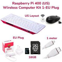 RPi 400 Wireless Computer Kit 1-US Layout & EU Power Plug