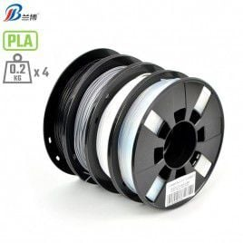 4 x 200g 1.75mm PLA Bundle (Black, Silver, White, Translucent)