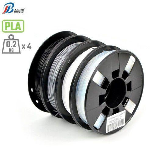 4 x 200g 1.75mm PLA Bundle (Black, Silver, White, Translucent)