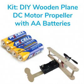 Kit-DIY Wooden Plane DC Motor Propeller with Batteries