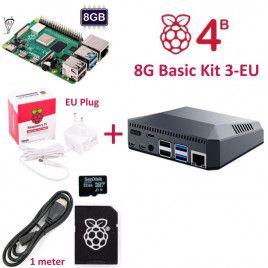 RPi 4B 8G Basic Kit 3-EU Plug(w RPI4B8G)