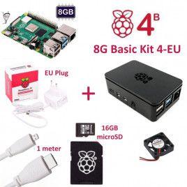 RPi 4B 8G Basic Kit 4-EU Plug(w RPI4B8G)