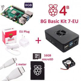 RPi 4B 8G Basic Kit 7-EU Plug(w RPI4B8G)