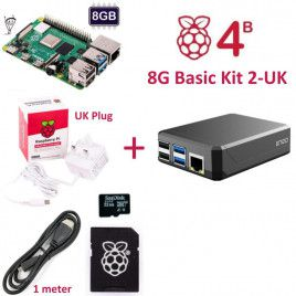 RPi 4B 8G Basic Kit 2-UK Plug(w RPI4B8G)