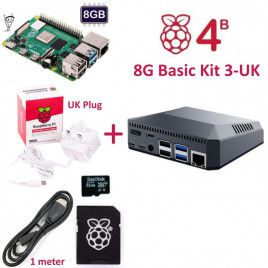 RPi 4B 8G Basic Kit 3-UK Plug(w RPI4B8G)