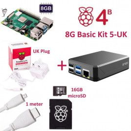 RPi 4B 8G Basic Kit 5-UK Plug(w RPI4B8G)
