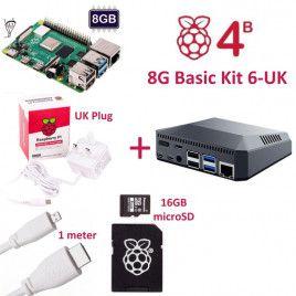 RPi 4B 8G Basic Kit 6-UK Plug(w RPI4B8G)