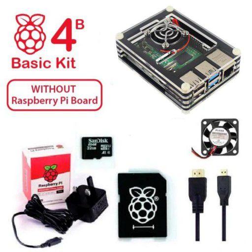 RPi 4B Basic Kit UK Plug - Acrylic Case (w/o Raspberry Pi)