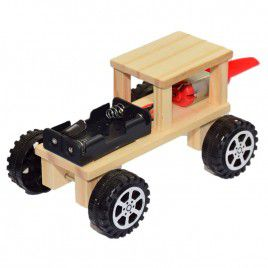 DIY Wooden Fan Push Car (with Batteries)