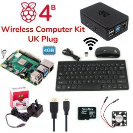 Raspberry Pi 4B 4GB Wireless Computer Kit-UK Plug