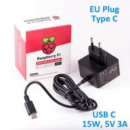 Official RPi 15W (5V/3A) PSU USB C EU Plug-Black