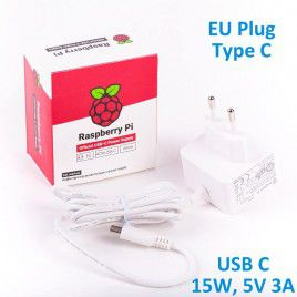 Official RPi 15W (5V/3A) PSU USB C EU Plug-White