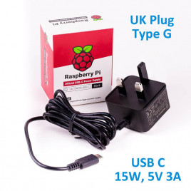 Official RPi 15W (5V/3A) PSU USB C UK Plug-Black