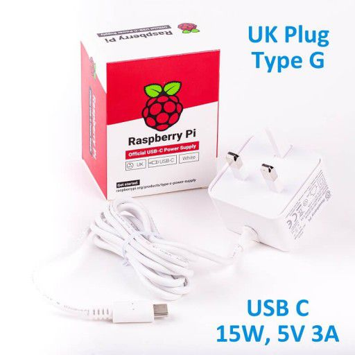 Official RPi 15W (5V/3A) PSU USB C UK Plug-White