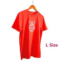 Raspberry Pi White Logo Red T-shirt - L Size