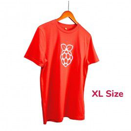 Raspberry Pi White Logo Red T-shirt - XL Size