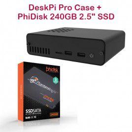 """DeskPi Pro Case with PhiDisk 240GB 2.5"""" SSD"""
