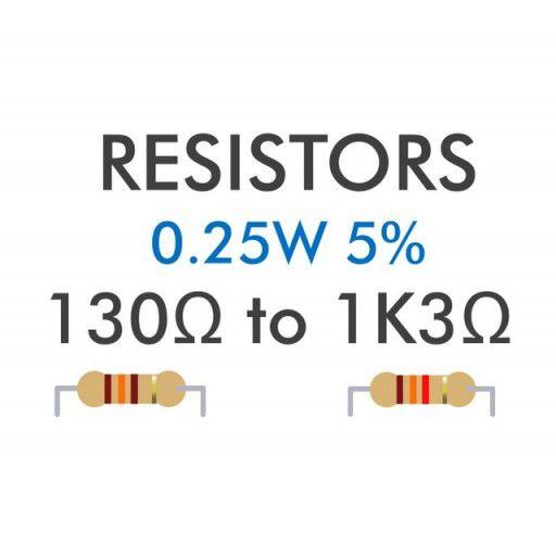 Resistor 0.25W 5% 130R - 1K3