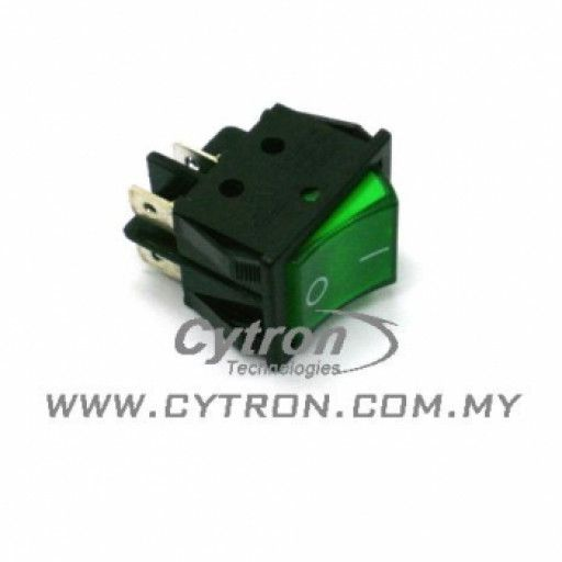Rocker Switch Big 4 Pins Green
